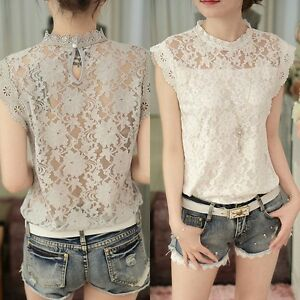 Fashion-Women-White-Lace-Hollow-Crochet-Short-Sleeve-Casual-Blouses-T-Shirt-Tops