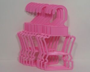 """Pink Display Hangers 10 pk Fits 14.5/"""" American Girl Wellie Wishers Doll Clothes"""