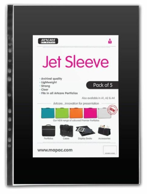 Mapac Jet Clear Artist Student Portfolio Sleeves (Packs of 5)
