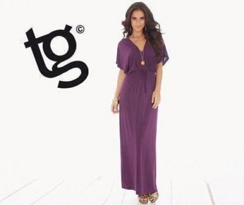 BNWT NEW LADIES TG PURPLE MAXI GRECIAN DRESS SIZE 8 BATWING SUMMER PARTY