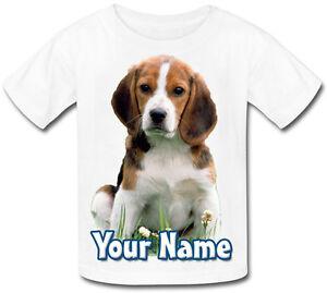 Childs Personnalisé / Nommé Chiot / Chien Beagle-t-shirt Enfants Design Tout Simplement Demander-afficher Le Titre D'origine Divers ModèLes RéCents
