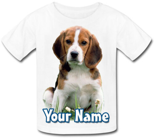 ANY DESIGN JUST ASK CHILDS PERSONALISED NAMED BEAGLE DOG PUPPY KIDS TSHIRT