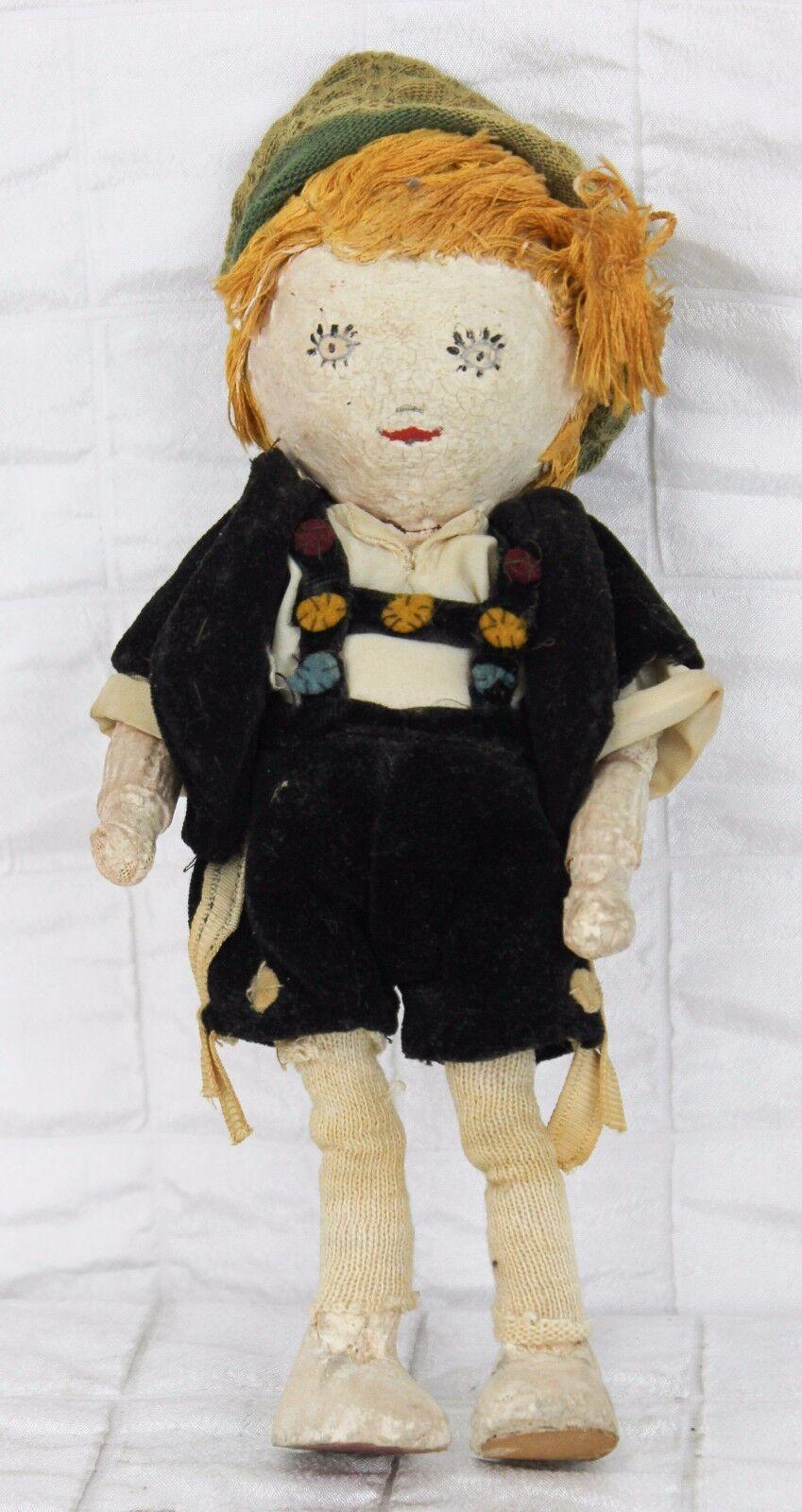 Vintage Muñeca de papel maché ropa de niño alemán Lederhosen pintado cara Sombrero Cabello Rubio