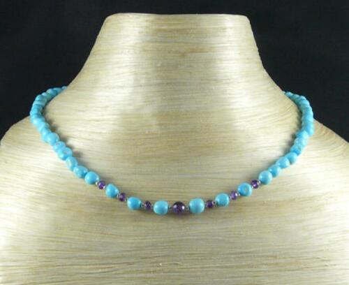 Natural turquoise améthyste collier 18 In fermoir argent environ 45.72 cm