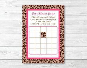 photo regarding Baby Shower Bingo Cards Printable called Info over Crimson Cheetah Print Printable Boy or girl Shower Bingo Playing cards