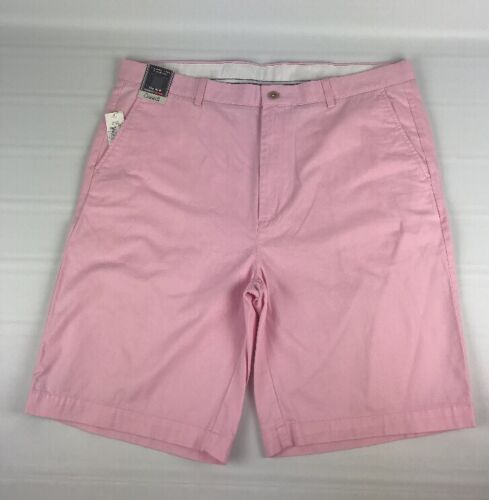 New NWT Men's Roundtree Yorke Pink 46 Tall Man Shorts Flat Front Classic Fit Z1