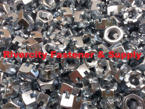 1//2-13 Slotted Hex Castle Nut Zinc Plated 1//2 x 13 Coarse Thread 10 Pack 10