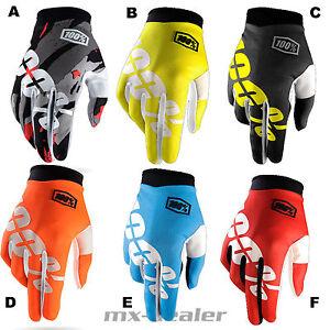 100-ITRACK-Nero-Neon-Guanti-MTB-DH-MX-BMX-Motocross-Enduro