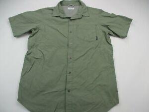 Columbia-Mens-Button-Front-Shirt-Green-Plaid-Short-Sleeve-Collared-Medium-Pocket