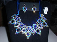Park Lane Jewelry nightingale Necklace & Earrings, Blue Crystals,