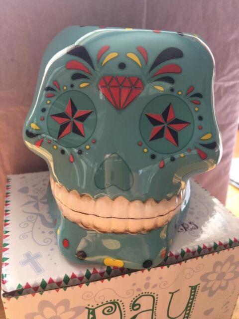 Blue Candy Skull Day of the Dead Ceramic Oil Burner (DOD19)