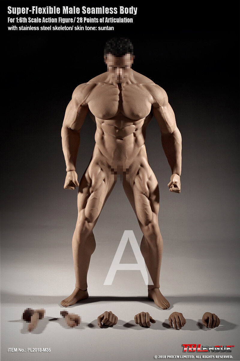 1 6 Tbleague Phicen Flexible músculo masculino cuerpo transparente con esqueleto de acero M35
