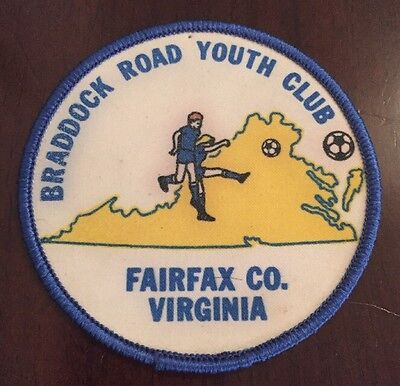 1980s soccer Fairfax County Virginia vintage patch retro blue yellow white square Braddock Road Youth Club old sports NW