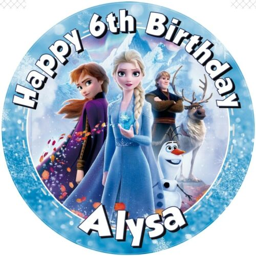 """1.5/""""  ROUND EDIBLE ICING PRINTED CAKE TOPPER 7.5/"""" Frozen 2/"""""""