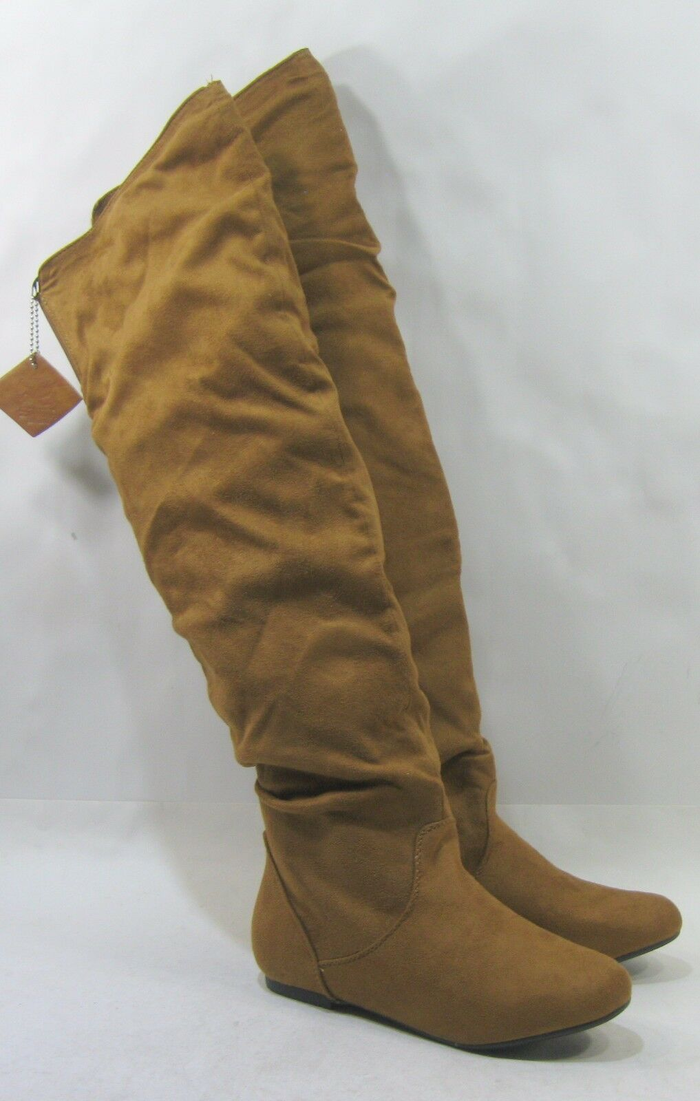 New Tan Flat Round Toe Back Elastic Over Knee Hidden Pocket Boots Size 7