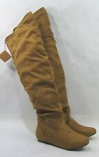NEW tan FLAT round toe  back ELASTIC over the knee hidden pocket  Boots size  7
