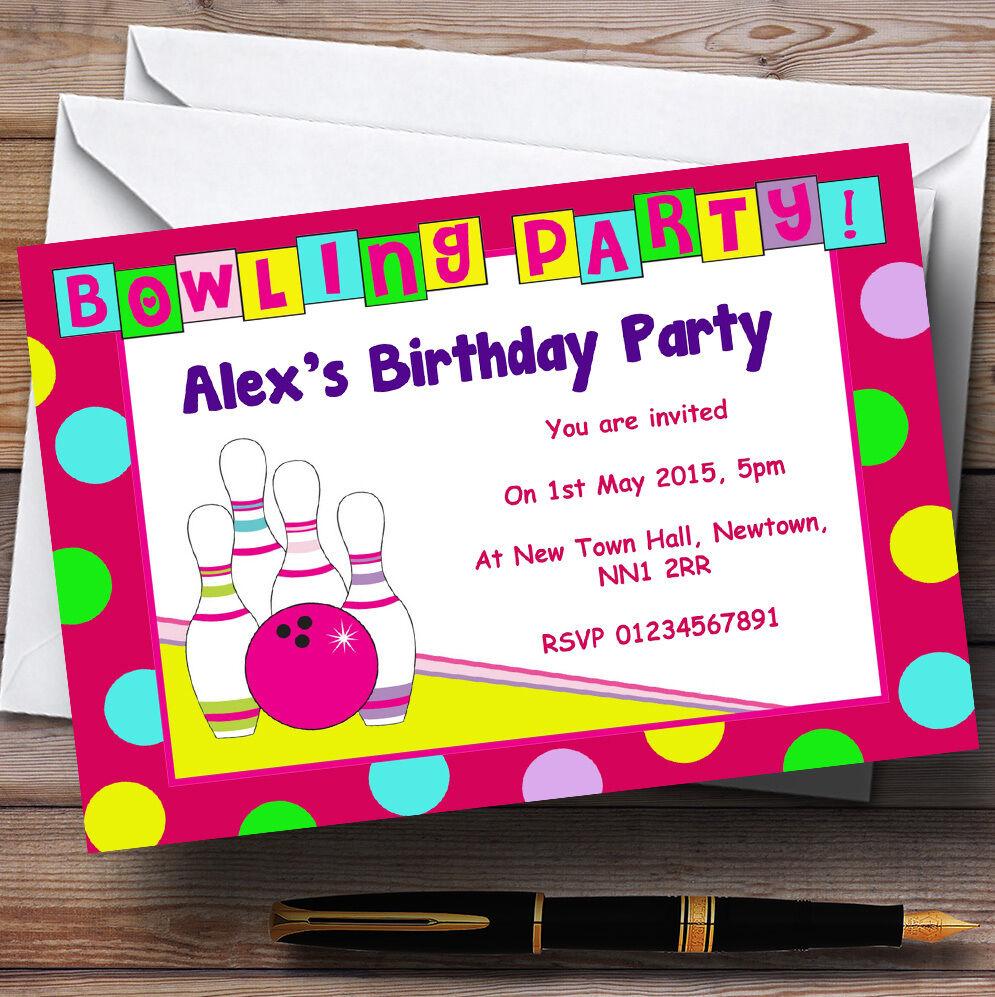 Bowling Bowling Bowling rosa Personalizzata Festa di Compleanno Inviti-th109 cadba6