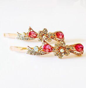 USA Bobby Pin Rhinestone Crystal Hair Clip Hairpin Jeweled Gold Bridal Wedding