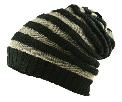 Chunky Stripe Panel Rib Slouch Pull On Neck Face Scarf Snood Beanie Cap Hat