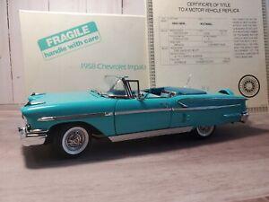 Danbury-Mint-1958-Chevy-Impala-Convertible-1-24-Scale-Diecast-039-58-Model-Car