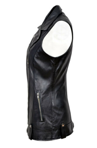 Biker Style en noir Mode Gilet Casual Mary cuir Ladies Designer Nappa 0wn5R