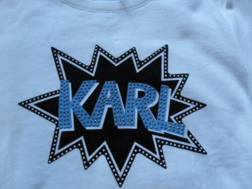 White Lagerfeld With M Bnwt Karl Logo Sequins 12 Top Size Blue Sweatshirt  f1xRwwHTq 82f872405c7