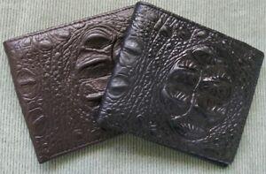 8e07dd08a32e Men's Crocodile Alligator Pattern Brown Black GENUINE LEATHER Bi ...