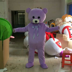 283762e626bb6 Details about Purple Teddy Bear Mascot Costume Suit Party Cosplay Adult  Festival Outfits Dress