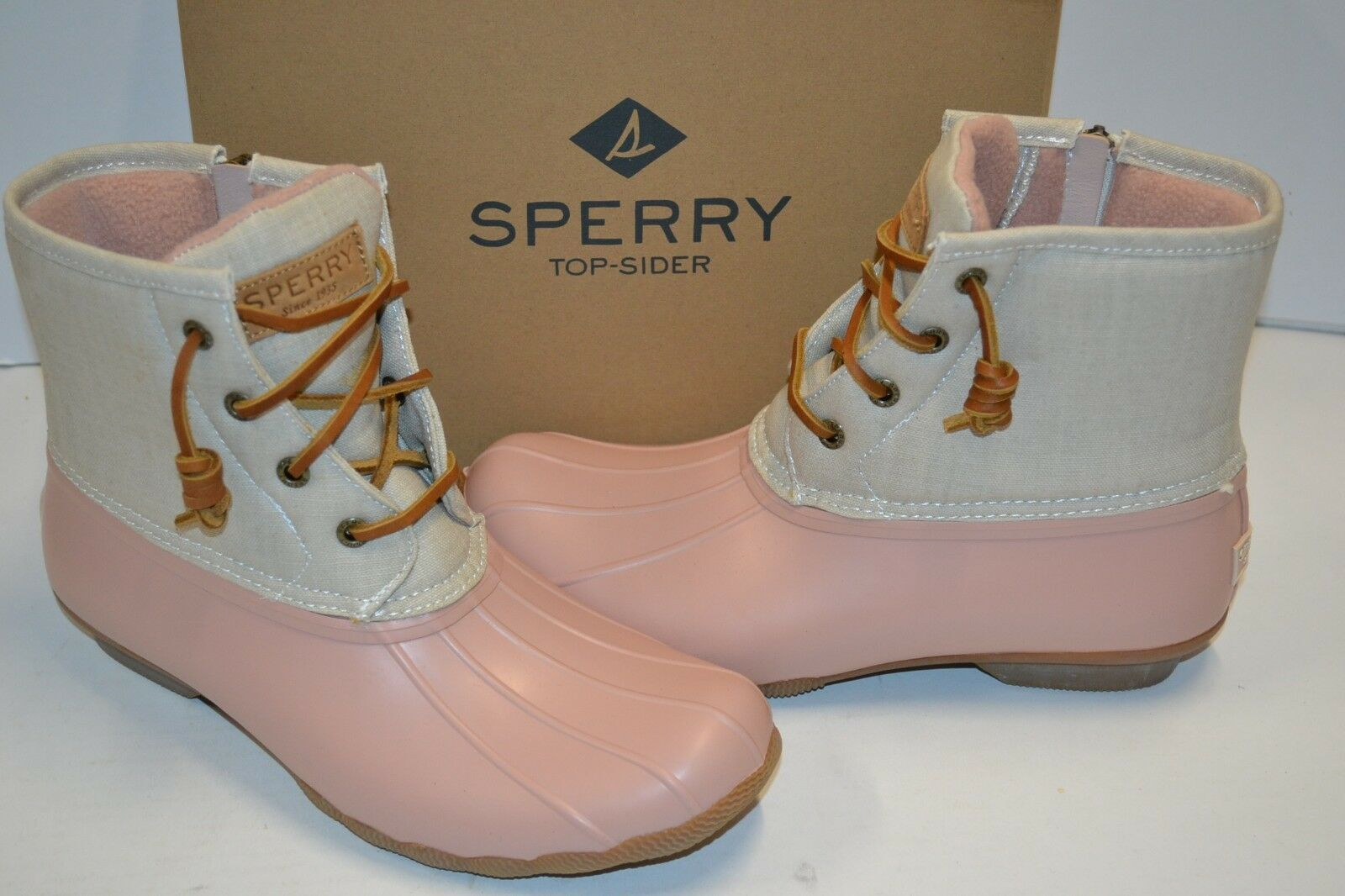 SPERRY top-sider canvas duck boots saltwater ROSE/OAT womens 10 M NEW STS80410