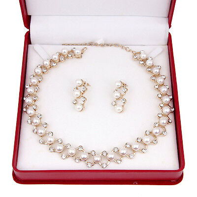 Transparent Crystal Pearl Necklace Earring Set Bridal Wedding Party Jewelry Sets