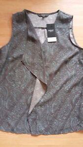 Ladies-Next-Sleeveless-Top-Size-10-Grey-Mint-Paisley-Design-New