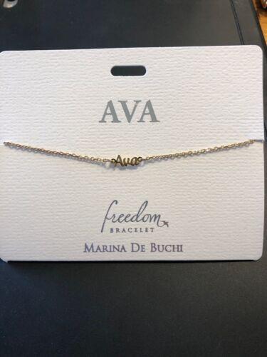 Freedom Bracelet by Marina De Buchi goldtone personalized Angela-Brooke