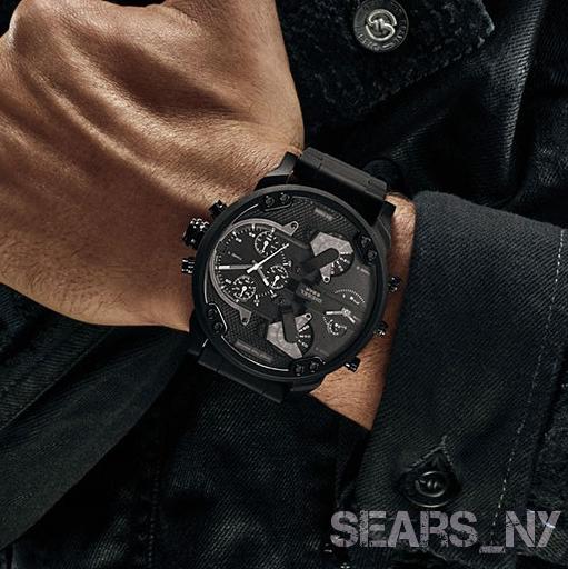 ⌚ DIESEL Men's Original MR. DADDY 2.0 Black Dial Chronograph GMT Watch DZ7396