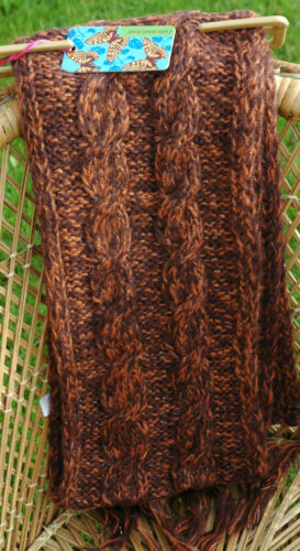 Gold Mix C037.Q Ladies Womens Cable Detail Scarf with Gold Lurex Brown