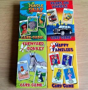4x new card game sets donkey happy families snap pairs