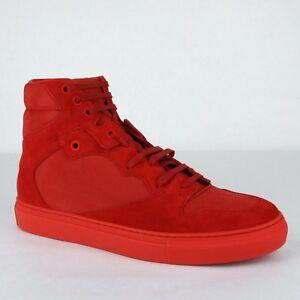 Details zu Balenciaga Herren Rot Nu Buck VelourslederGummi Hi Top Sneaker 412347 6570