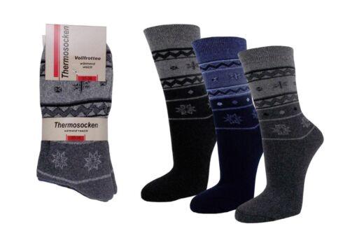 3 6 oder 12 Paar Damen Hütten Socken   Thermo   Innenfrottee    5E4
