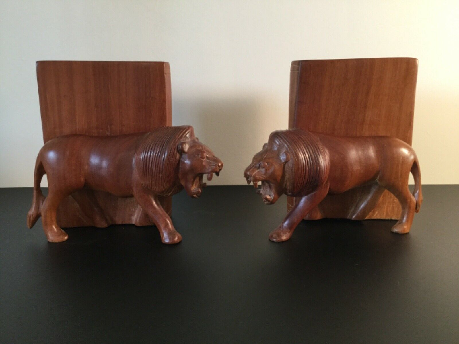 Lion Bookends Beautifull Vintage Wood Carvings