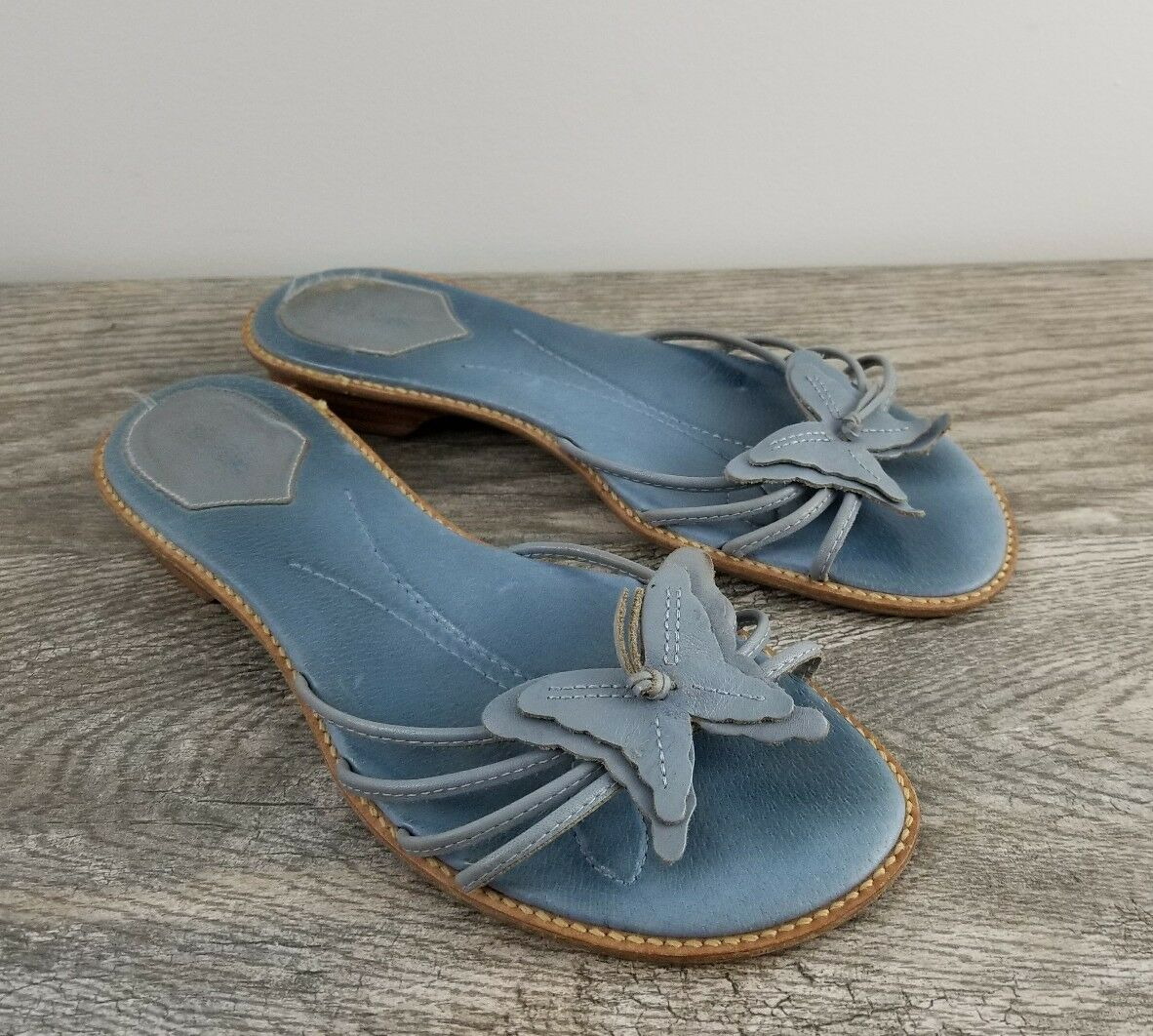 NICOLE Light Blue Leather 8, Butterfly Slides Sandals, Size 8, Leather VGUC, Cruise Ready! b8c25d