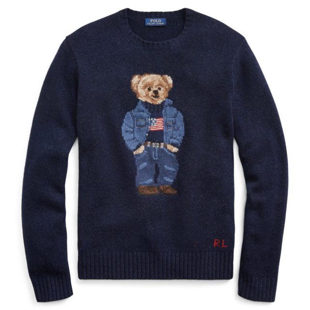 Lauren Flag Polo New398 Denim Anniversary Sweater Ralph 50th Wool Bear Usa 3FulK1cJT