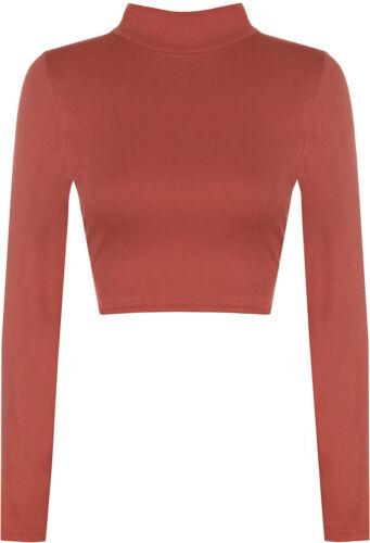 Women/'s Ladies Turtle Polo Neck Crop Top Long Sleeve Short Plain Cropped