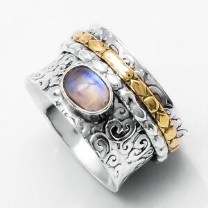 Moonstone-Solid-925-Sterling-Silver-Spinner-Ring-Meditation-statement-Ring-SR305