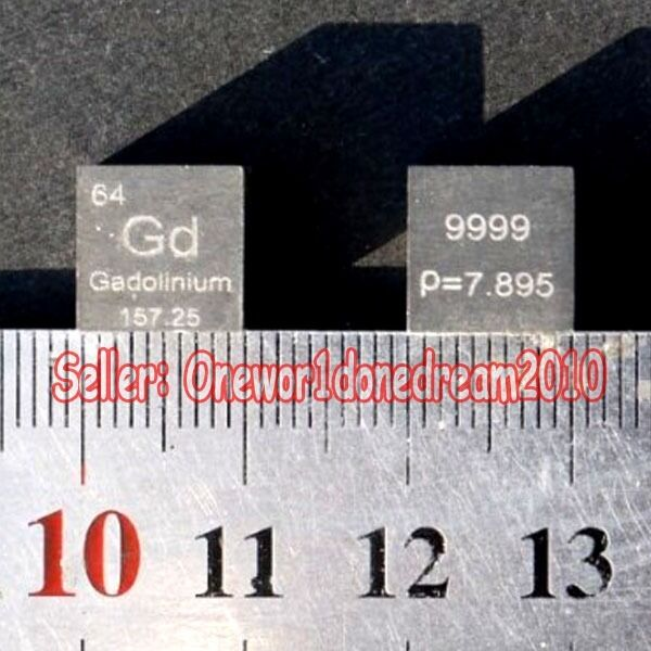 1 pcs 99.9% Pure Gadolinium Gd 10mm Cube Carved Element Periodic Table 7.92g