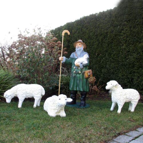 XXXL Schäfer Schafhirte  inclusive 3 Schafe  Gartenfigur Gartendeko DWCOLLECTION