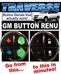 Details about CHEVROLET TRAVERSE AC BUTTON DECALS GM CLIMATE CONTROL REPAIR  SET