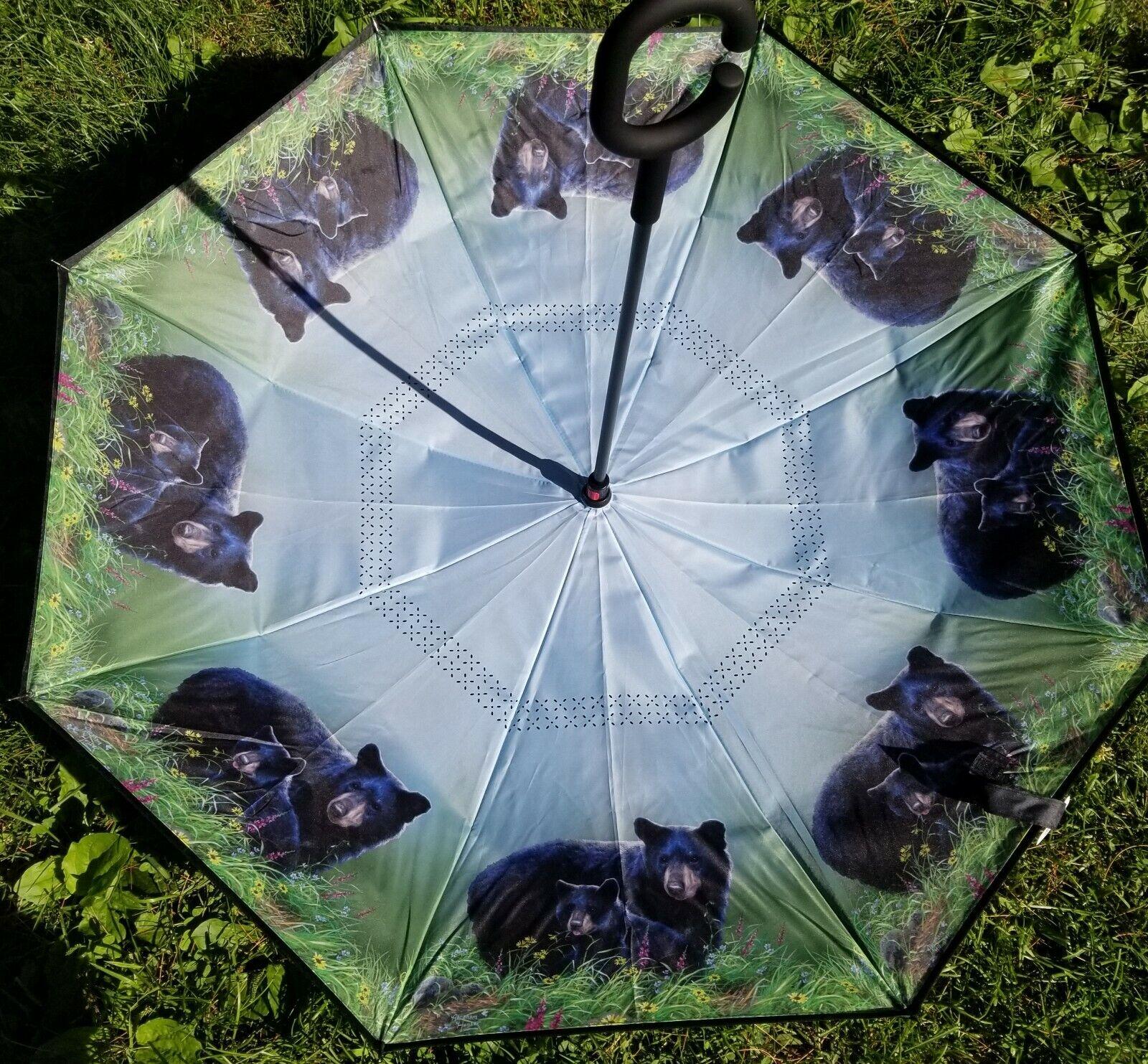 C Handle Reverse Folding Double Layer Inverted Umbrella with Bear Scene - NEW