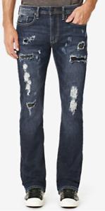 Buffalo David Bitton Men's KING-X Slim Stretch Bootcut Ripped Jeans, 33X30,