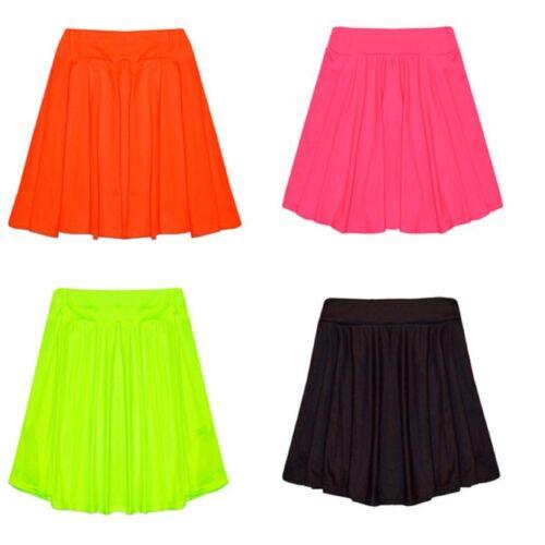 Girls Neon Swing Skater Dance Skirt 7 8 9 10 11 12 13 Black Orange Yellow Pink