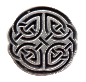 Hand Made in Cornwall Celtic Quartered Knot Pewter Pin Badge
