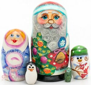 Christmas   Santa in glasses   WOOD RUSSIAN NESTING DOLL 5  PCS#10s